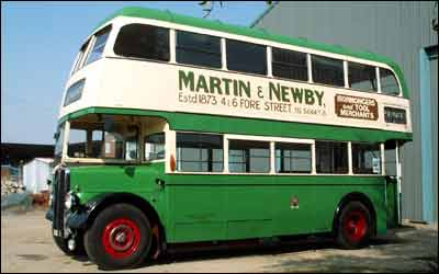 ADX1 from 1950, an AEC Regent III model, bus-fans: sponsored by local hardware merchants Martin and Newby